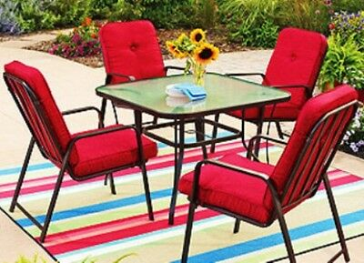 Mainstays Lawson Ridge 4 Patio Dining Chairs (Red) Table Not Included