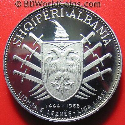 Albania 1970 5 Leke Silver Proof Victory Over Turks Very Rare Mint = 500 Coins!