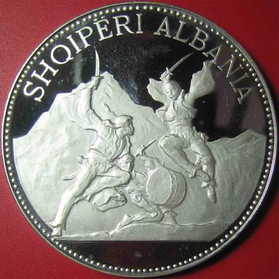 1970 ALBANIA 25 LEKE 2.7oz SILVER PROOF SWORD DANCE 60mm RARE MINT=500 COINS!