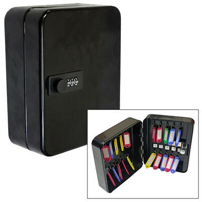 20 Hook Steel Lockable Combination Lock Key Cabinet Security Safe Box With Fobs