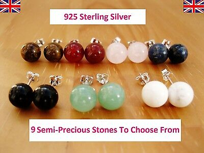 925 Sterling Silver - Semi-Precious Gemstones Round Stud Earrings 8MM - 9 Types