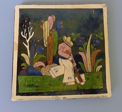 "Vintage Mexican Tlaquepaque pottery tile man working the land 5 3/4"" x 5 3/4"""