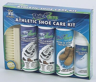 Quick Care Athletic Shoe Sneakers Complete Kit Cleaner Conditioner Leather Suede