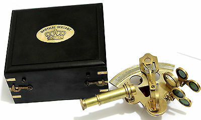 Antique Brass Navigation Sextant in Wooden