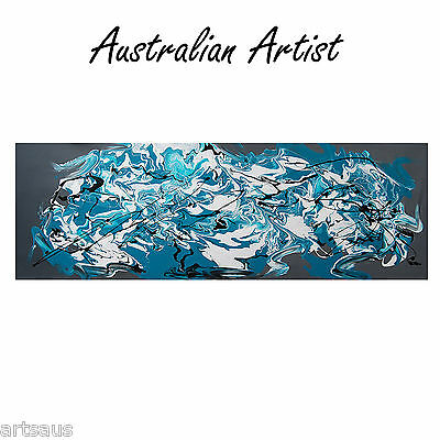 HUGE ABSTRACT CANVAS PAINTING 120cm Turquoise GREY WHITE Modern wall art  DECO