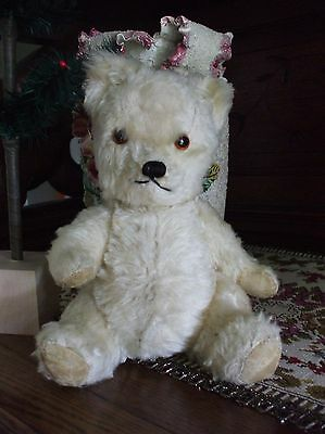 Antique Vintage Fully Jointed Mohair Teddy Bear Glass Eyes Squeaker Cream Color