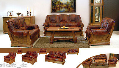 set 3 2 1 sofa garnitur ledersofa wohnzimmer leder ledergarnitur wohnlandschaft eur. Black Bedroom Furniture Sets. Home Design Ideas