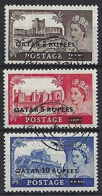 QATAR O/P ON GB.QUEEN ELIZABETH II(1952-NOW).SG13a-15a.(CAT VAL £160).VFU.(CZ85)