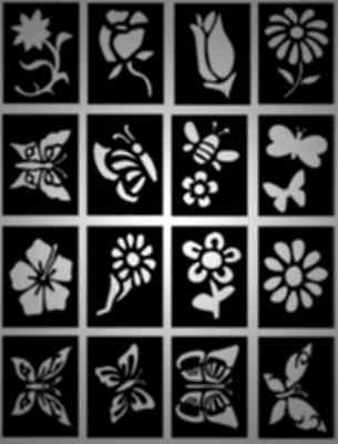 16 x Beautiful Butterflies and Flowers Girls Glitter Tattoo stencils