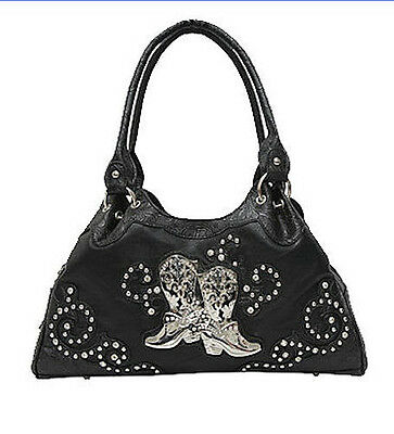 Horse & Western Ladies Womens  Handbag Western Silver  Boots Motiff Black
