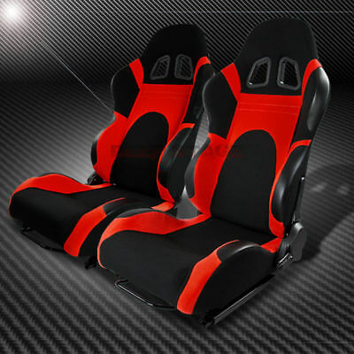 Two Universal Fully Reclinable Black/red Cloth Bucket Racing Seats+Slider/rails