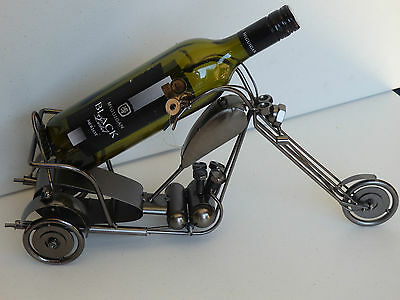 novelty gift metal wine bottle wine rack chopper trike man cave bar