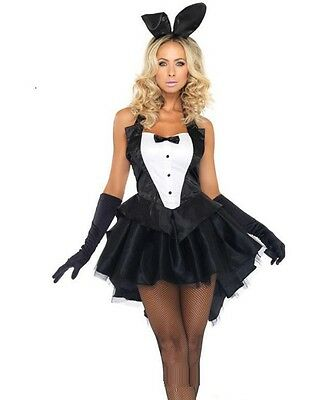 Sexy Black Bunny Rabbit Fancy Tuxedo Tailcoat Dress Playboy Girl Costume Set K51
