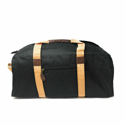 """24"""" Large Travel Duffel Bag Deluxe Sports Carry On Travel Bag Black and Khaki"""