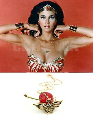 Wonder Woman Brass Pendant necklace Gold plate Chain Diana Prince Lynda Carter