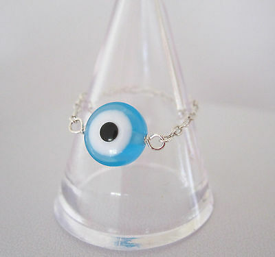 925 Sterling silver EVIL EYE chain ring, Protection ring