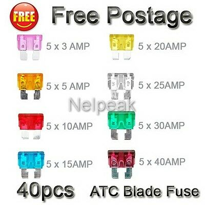 40pcs Blade Fuse Assortment Truck Motorcycle Fuses 3A 5A 10A 15A 20A 25A 30A 40A