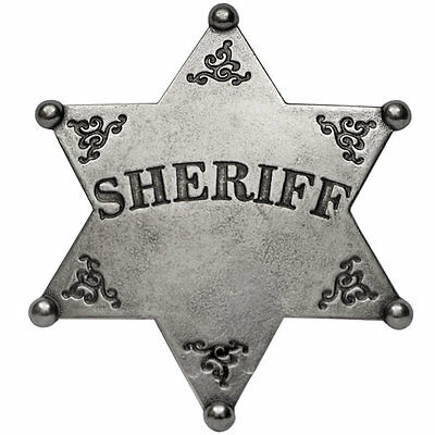 Six 6 Point Ball Tipped  Sheriff Star  Badge ~ Western Wild West Badge