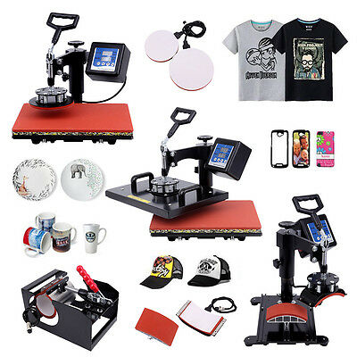 5 In 1 Combo Heat Press Transfer Sublimation Printer T-Shirt Mug Hat Cup Plate