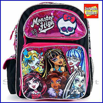 "Monster High Backpack 16"" Large School Backpack Book Bag"
