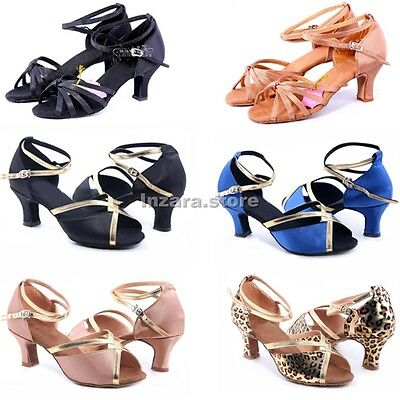 Brand New Women's Girls Ballroom Latin Tango Dance Shoes heeled Salsa 6 Styles