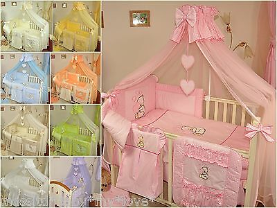 LUXURY 7pcs BABY BEDDING SET TO FIT BABY COT or COTBED/ TEDDY BEAR  AND HEART