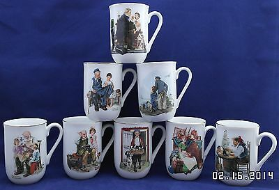 Vintage Set of 8 Norman Rockwell Collector's  Porcelain Cups Mugs 1982 & 1986