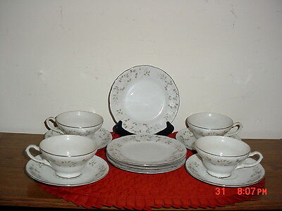 "12-PIECE SHEFFIELD ""CLASSIC"" DINNERWARE SET/#501/JAPAN/WHITE-GRN-PINK"