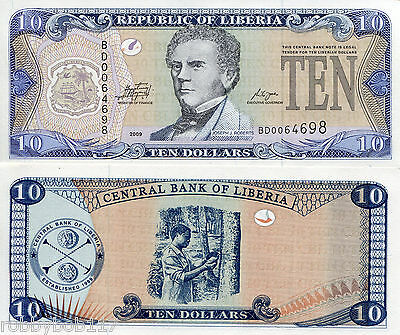 LIBERIA 10 Dollars Banknote World Money UNC Currency Bill p27e 2009 Africa Note