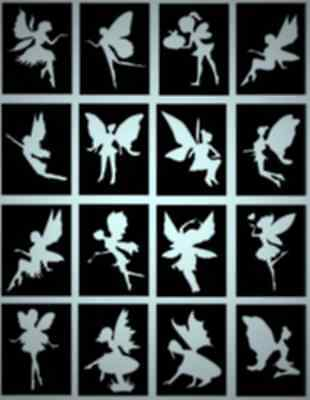 FAIRY glitter tattoo stencils, great for parties, BEAUTIFUL DESIGNS, Pack of 16
