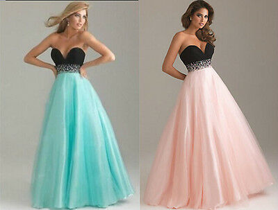 Stock Bridesmaid Wedding Gown Prom Ball Evening Dress Size 6 8 10 12 14 16 18