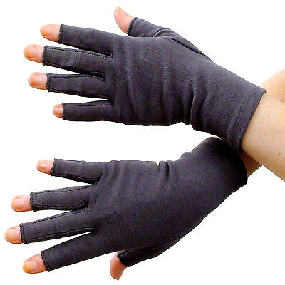 Fingerless Heat Therapy Gloves Arthritis Compression Raynauds Carpal Tunnel Grey