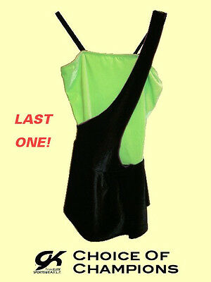 GK Elite® #935 Adult Medium Black & Lime Green Velvet Skating Dress/Costume SAVE