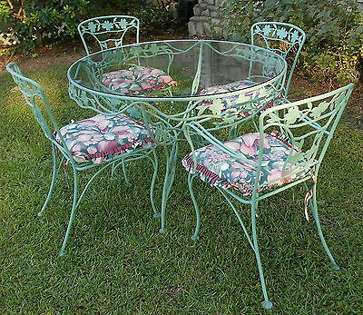 Vintage Wrought Iron Patio Set Dogwood Blossoms & Branches Sage Green   8 Pcs