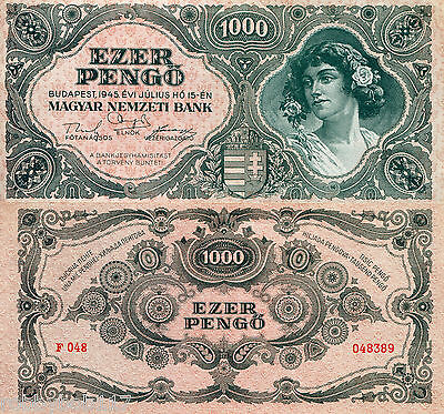 "HUNGARY 1000 Pengo Banknote World Paper Money Currency p118a 1945 ""XF"" BILL Note"