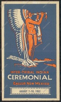 1952 Water Decal INTER-TRIBAL INDIAN CEREMONIAL Gallup New Mexico CAR TRANSFER