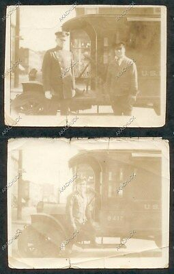 2 Photo 1920s BROOKLYN New York City POLICEMAN & POSTMAN US Mail Truck 9412