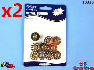 2 Packs of 10pcs Metal Bobbin with Thread Dia 20mm Assorted Colors KD10336x2