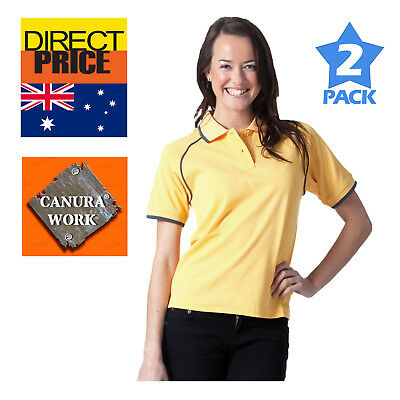 Package of 2 Ladies Womens Polo Shirt Tops Casual Sports Gym Team wear Golf