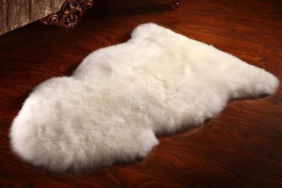 Natural White XLarge Genuine Sheepskin Rug Fleece Extra Thick Fur 100 x 70 cm