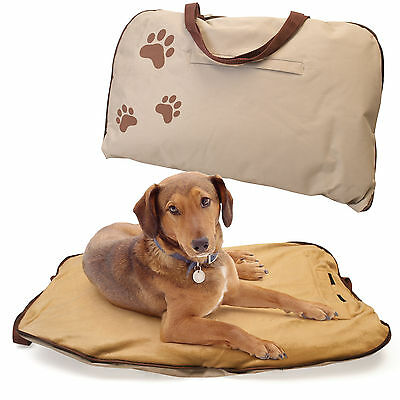 Travel Pet Bed Zip Up Cats Dogs Portable Soft Cosy Cushion Beige Polyester
