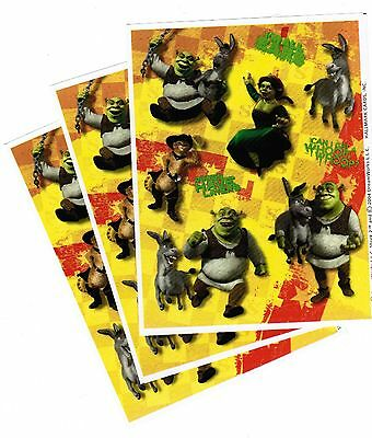 3 Sheets SHREK 2 Scrapbook Stickers! Donkey Ogre Fiona Puss in Boots