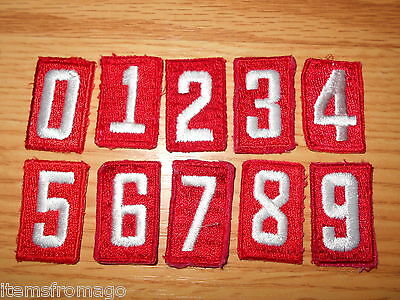 BOY SCOUT Embroidered RED TROOP UNIT NUMERAL - YOUR CHOICE of Number/Quantity