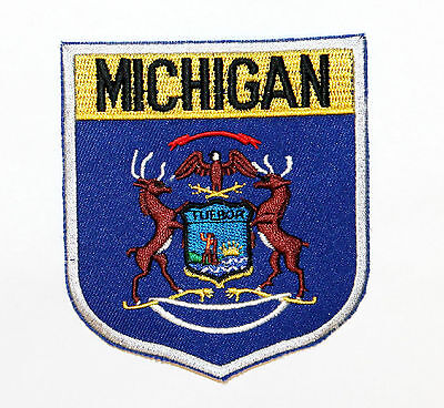 State Of Michigan MI Shield Flag Sew On Embroidered Applique Patch