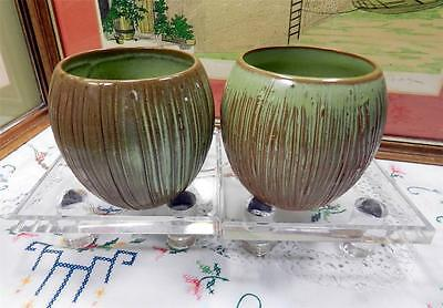 "2  FRANKOMA T7 TRADE WINDS TIKI MUGS 4 1/8"" PRAIRIE GREEN COCONUT BOWLS 1960'S"
