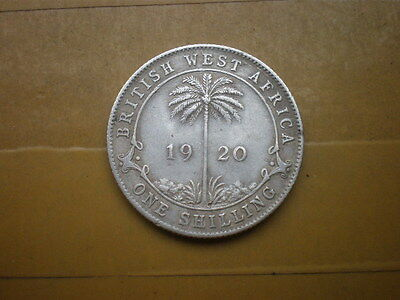 1920 British West Africa 1 Shilling,silver coin