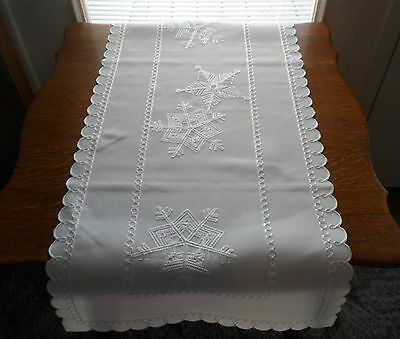 "SNOW FLURRIES Embroidered White on White SNOWFLAKES 15.5"" x 34"" Table Runner"