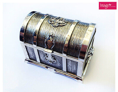 Metal Decorative Treasure Chest with Ornate Decorations w/ Velvet Lining