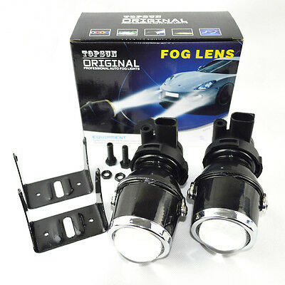 2X Glass Metal universal H3 xenon HID projector Fog lights projector lens lamps