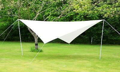 Portable Ivory Sun Shade Sail Kit with Poles & Ropes 3.6m Square Garden Canopy